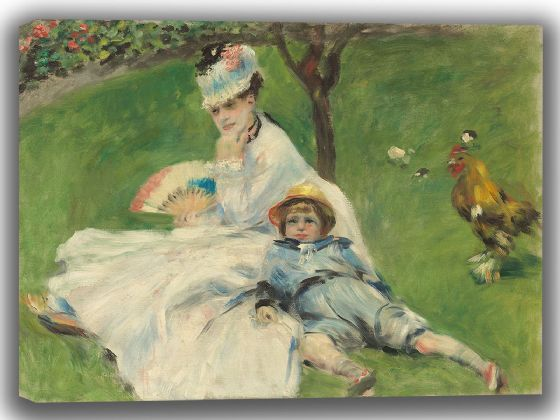 Renoir, Pierre Auguste: Madame Monet and Her Son. Fine Art Canvas. Sizes: A4/A3/A2/A1 (003960)